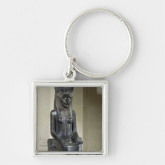 Statue of the lion-headed goddess Sekhmet, from th Silver-Colored Square Keychain