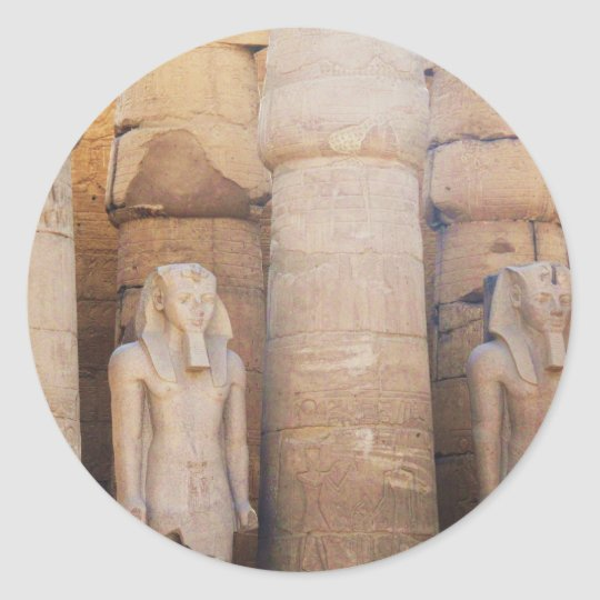 Statue of the Pharaoh Ramses II, Luxor Temple Classic Round Sticker