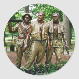 Statue of the Three Servicemen  | Vietnam War Vets Classic Round Sticker