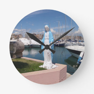 Statue Of the Virgin mary Round Clock