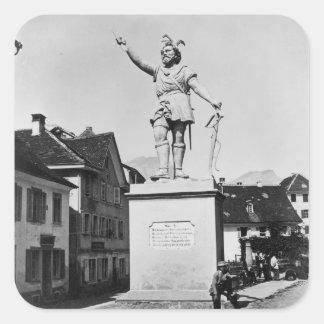 Statue of William Tell, c.1860-90 Square Sticker