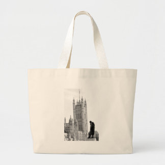 Statue of Winston Churchill in London Large Tote Bag