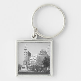 Statue on american city square B&W Keychain