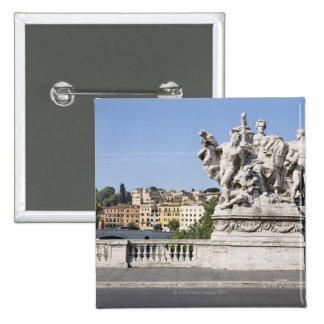 Statue on Ponte Vittorio Emanuele II, Rome, Pinback Button
