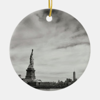 Statue Themed, A Black And White Picture Of Statue Double-Sided Ceramic Round Christmas Ornament