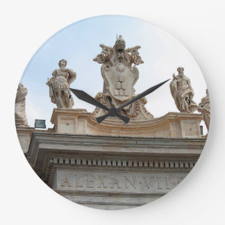 Statues on St Peter's Square in the Vatican City Large Clock