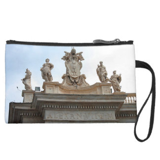 Statues on St Peter's Square in the Vatican City Suede Wristlet Wallet