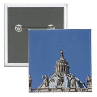 statues on the facade of Saint Peter's basilica 2 Inch Square Button