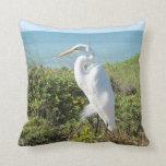 Statuesque Heron Throw Pillows
