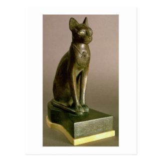 Statuette of a cat representing the goddess Bastet Postcard