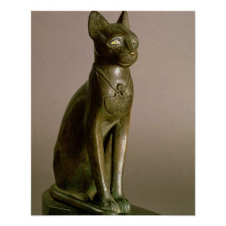 Statuette of a cat representing the goddess Bastet Poster