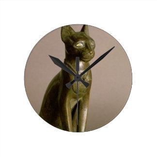 Statuette of a cat representing the goddess Bastet Round Clock
