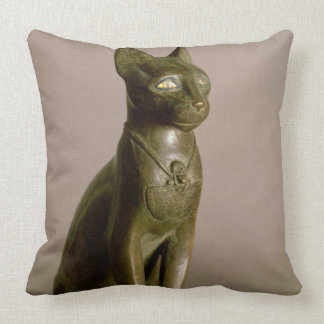 Statuette of a cat representing the goddess Bastet Throw Pillow
