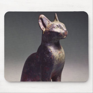 Statuette of a cat with gold earrings mouse pad