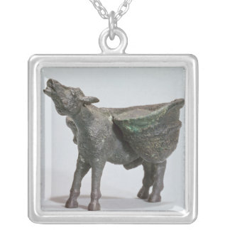 Statuette of a donkey braying, Roman Silver Plated Necklace