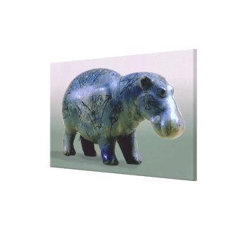 Statuette of a hippopotamus stretched canvas prints