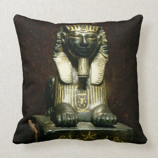 Statuette of a sphinx of King Tuthmosis III New K Throw Pillows