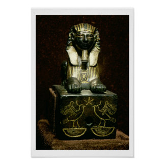 Statuette of a sphinx of King Tuthmosis III, New K Poster