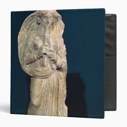 Statuette of a woman playing a double flute 3 ring binder