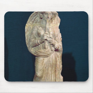 Statuette of a woman playing a double flute mouse pad