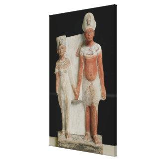 Statuette of Amenophis IV  and Nefertiti Canvas Print