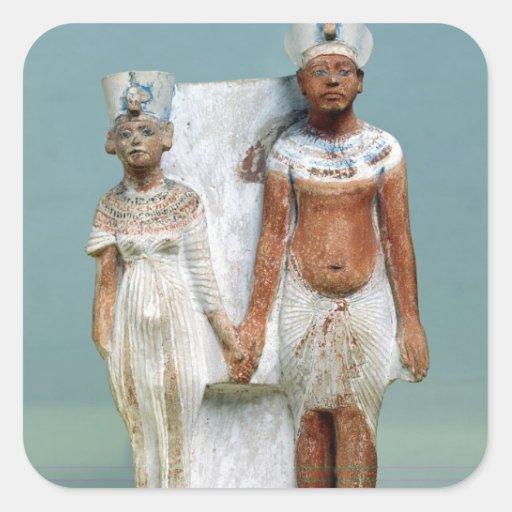 Statuette of Amenophis IV  and Nefertiti Square Sticker