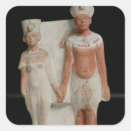 Statuette of Amenophis IV  and Nefertiti Square Stickers