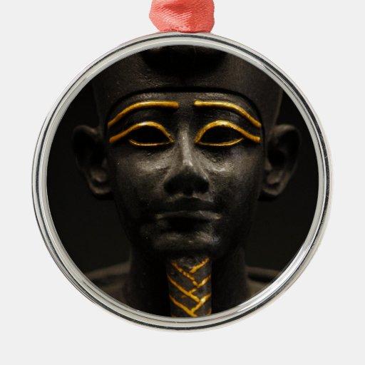 Statuette of Late Period Egyptian God Osiris Round Metal Christmas Ornament
