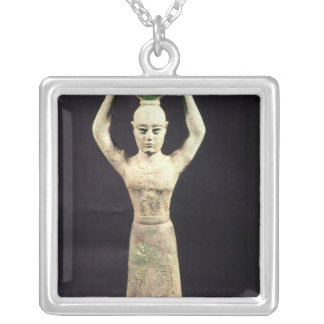 Statuette of offering bearer with votive silver plated necklace