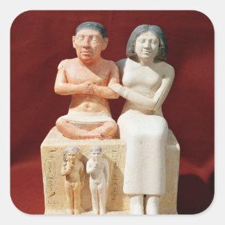 Statuette of the dwarf Seneb and his family Square Sticker