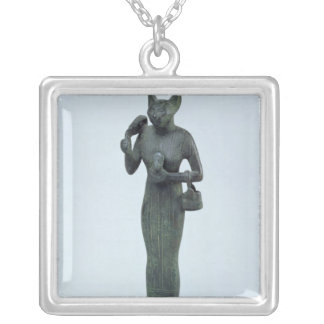Statuette of the goddess Bastet Silver Plated Necklace