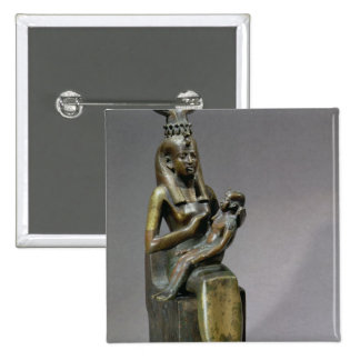 Statuette of the goddess Isis and the child Horus 2 Inch Square Button