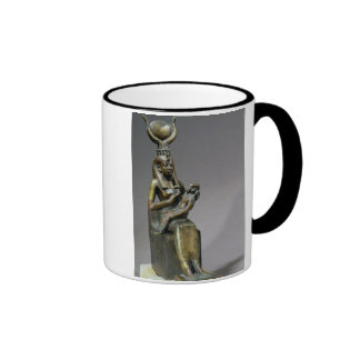 Statuette of the goddess Isis and the child Horus Ringer Coffee Mug