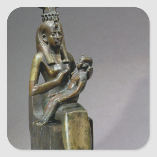 Statuette of the goddess Isis and the child Horus Square Sticker