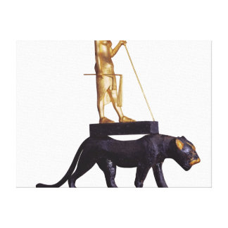 Statuette of the king upon a Leopard Gallery Wrap Canvas