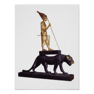 Statuette of the king upon a Leopard Poster