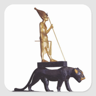 Statuette of the king upon a Leopard Square Sticker