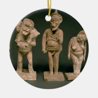Statuettes of Actors and Actresses, Hellenistic, c Double-Sided Ceramic Round Christmas Ornament