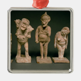 Statuettes of Actors and Actresses, Hellenistic, c Square Metal Christmas Ornament