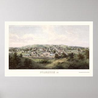 Staunton, mapa panorámico del VA - 1857 Póster