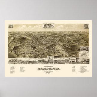 Staunton, mapa panorámico del VA - 1891 Póster