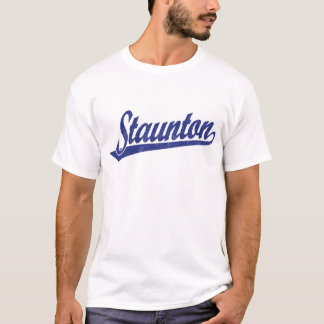 Staunton script logo in blue distressed T-Shirt