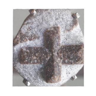 Staurolite , perfect crystal intersection memo pad