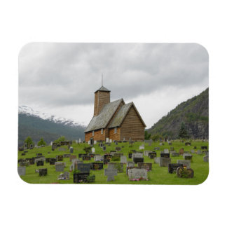Stave church and graves, Norway rectangular magnet