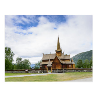 Stave church in Lom, Norway postcard