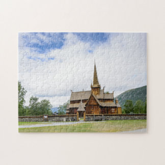 Stave church in Lom, Norway puzzle