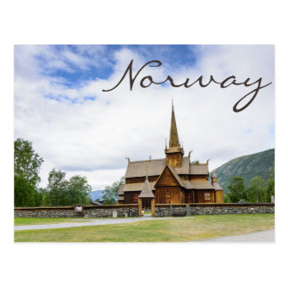 Stave church in Lom, Norway text postcard