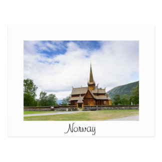 Stave church in Lom, Norway white text postcard