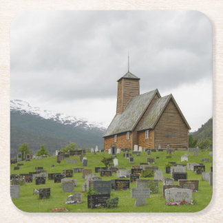Stave church with graveyard in Norway coaster Square Paper Coaster