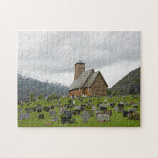 Stave church with graveyard in Norway jigsaw Jigsaw Puzzle